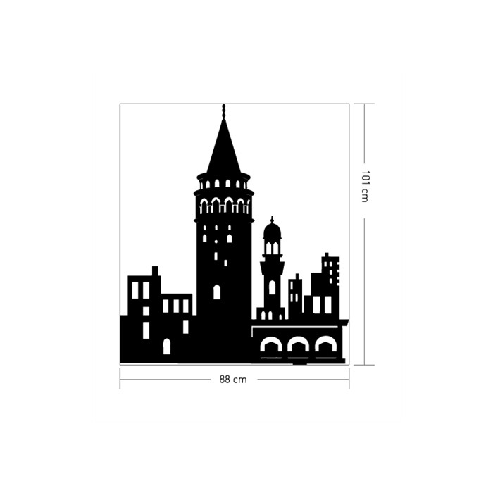 Tarihi Duvar Sticker Galata Kulesi Kadife Duvar Sticker 88x101 Cm