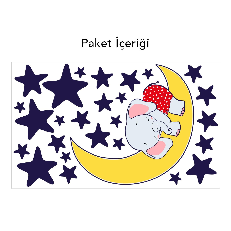 Twinseven Uyuyan Fil Duvar Sticker çocuk Odası Stickerduvar