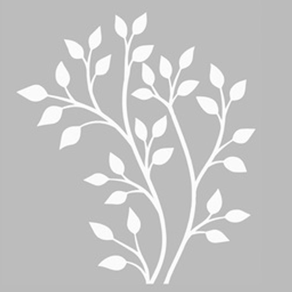 Silver Serisi Artikel Agac Dali Stencil Tasarimi 30 X 30 Cm
